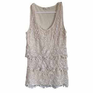 Anthropologie Cream Lace Layer Tank Top Size Small